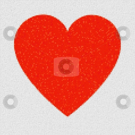 Heart Mosaic Squares stock photo, Red heart mosaic made from little tiles. by Henrik Lehnerer