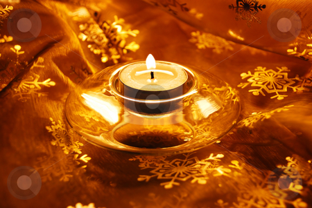Candle Christmas collage stock photo, Christmas decorative gold material with burning candle by Julija Sapic