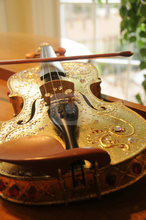 Violin in the afternoon stock photo, Violin setup for the afternoon by Timothy OLeary