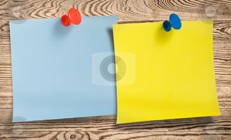 Two note papers with thumbtacks  stock photo, Two note papers with thumbtacks in wooden surface. by Pablo Caridad