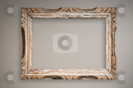 Vintage picture frame on wall, clipping path. stock photo, Vintage picture frame hanging on wall, clipping path. by Pablo Caridad