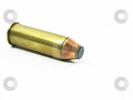 Bullet on White Background stock photo, Bullet on white background with copy space by John Teeter