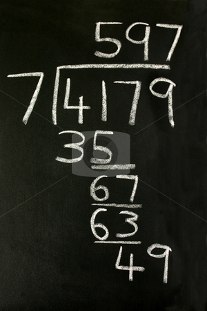 A long division sum on a blackboard. stock photo, A long division sum on a blackboard. by Stephen Rees