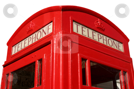 Close up of an old English red telephone box stock photo, Close up of an old English red telephone box by Stephen Rees