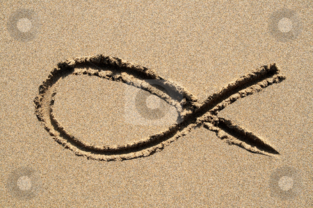 Ichthys, a Christian religious fish symbol, drawn on a beach. stock photo, Ichthys, a Christian religious fish symbol, drawn on a beach. by Stephen Rees