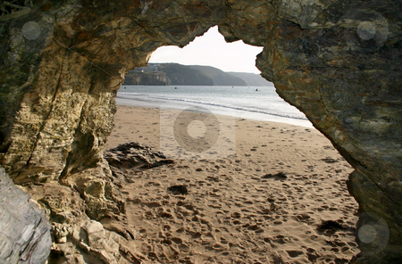 View from a cave, Perranporth stock photo, View from a cave, Perranporth by Stephen Rees