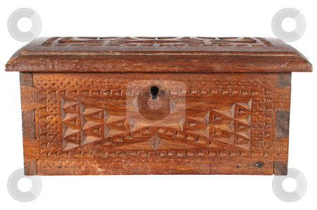 Old wooden treasure chest, isolated on a white background. stock photo, Old wooden treasure chest, isolated on a white background. by Stephen Rees