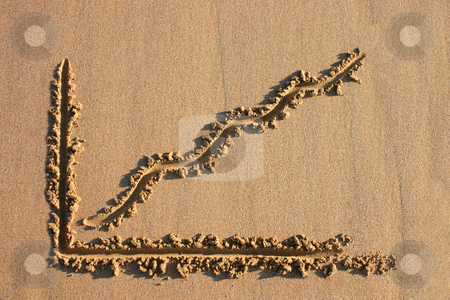 A profit chart drawn in the sand. stock photo, A profit chart drawn in the sand. by Stephen Rees