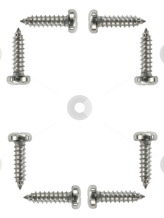 Screws background stock photo, Screws on a white background with copy space by John Teeter