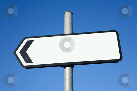 left pointing direction sign with space for text stock photo