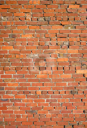 Old red brick wall with loose bricks. stock photo, Old red brick wall with loose bricks. by Stephen Rees