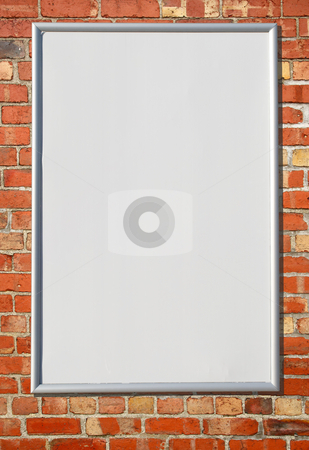 White blank billboard sign on a red brick wall. stock photo, White blank billboard sign on a red brick wall. by Stephen Rees