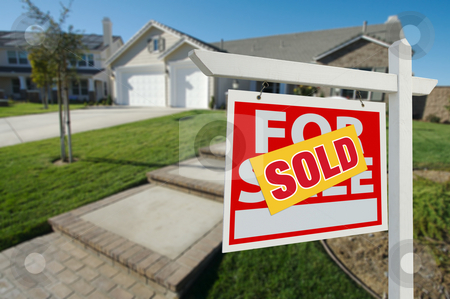 Sold Home For Sale Sign and House stock photo, Sold Home For Sale Sign in Front of New House by Andy Dean