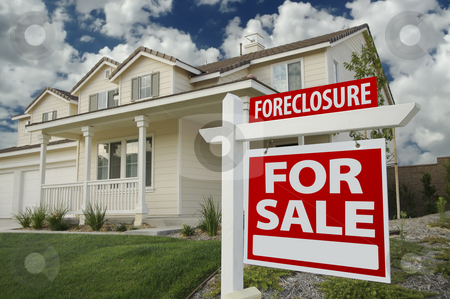 Foreclosure Home For Sale Sign & House stock photo, Foreclosure Home For Sale Sign in Front of New House by Andy Dean
