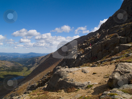 The View stock photo, A hiker at the Chicago Lakes Basin in the Mt. Evans Wilderness, Colorado. by John McLaird
