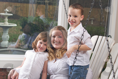 Mother and Children stock photo, Mother and Children Enjoying a Fun Moment by Andy Dean