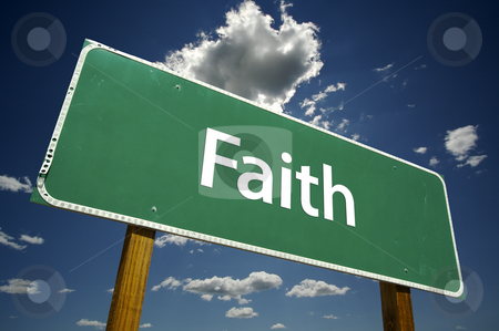 Faith Road Sign stock photo, Faith Road Sign with dramatic clouds and sky. by Andy Dean