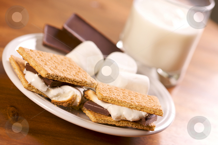 Smores and Milk stock photo, Smores and Milk with Narrow Depth of Field by Andy Dean