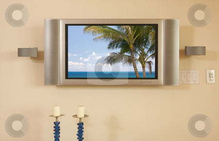 LCD TV & Speakers stock photo, LCD TV & Speakers mounted on the wall. by Andy Dean