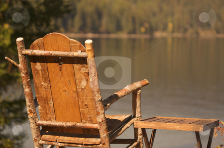 Tranquil Morning Lake Scene stock photo, Tranquil Morning Lake Scene with Chair and Table by Andy Dean