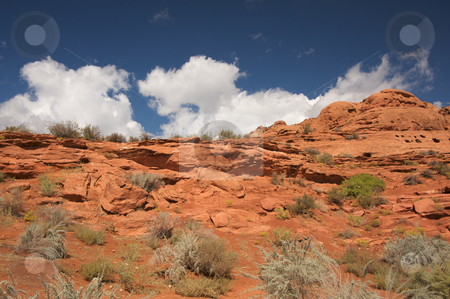 Red Rocks of Utah stock photo, Red Rocks of Utah with Dramatic Blue Sky and Clouds by Andy Dean
