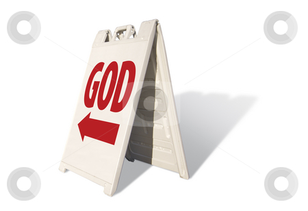 God Tent Sign stock photo, God Tent Sign Isolated on a White Background. by Andy Dean