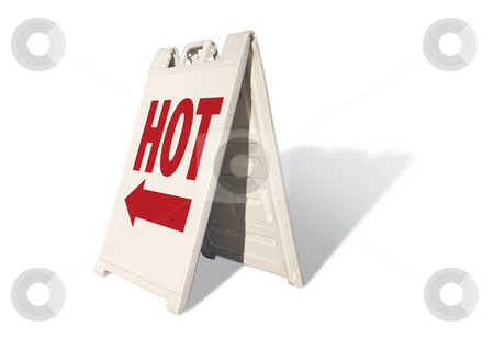 Hot Tent Sign stock photo, Hot Tent Sign Isolated on a White Background. by Andy Dean