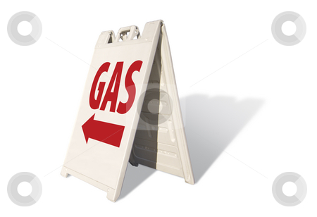 Gas Tent Sign stock photo, Gas Tent Sign Isolated on a White Background. by Andy Dean