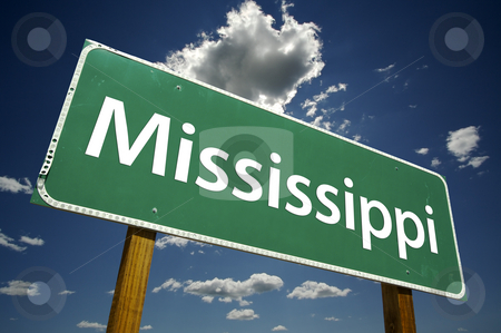 Mississippi Road Sign stock photo, Mississippi Road Sign with dramatic clouds and sky. by Andy Dean