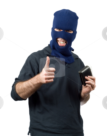 Wallet Thief stock photo, A thief holding a wallet and giving a thumbs up, isolated against a white background by Richard Nelson