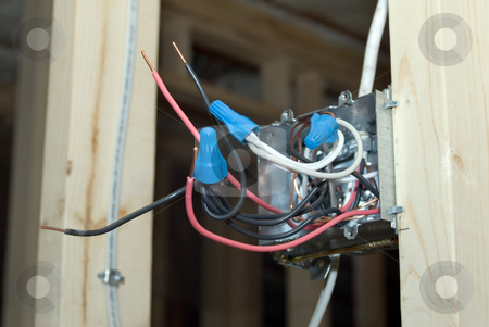 Electrical Box stock photo, An open electrical box with capped wires being exposed by Richard Nelson