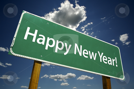 Happy New Year Road Sign with Dramatic Clouds stock photo, Happy New Year Road Sign with dramatic clouds and sky. by Andy Dean