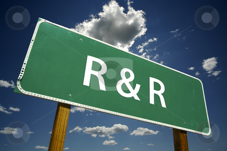 R and R Road Sign with Dramatic Clouds stock photo, R and R Road Sign with dramatic clouds and sky. by Andy Dean