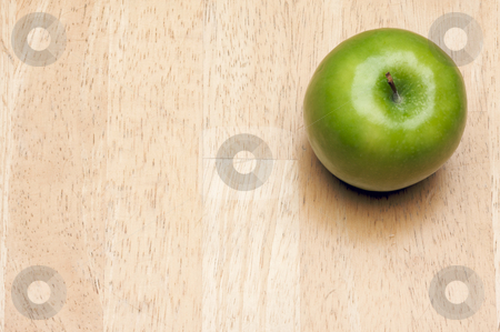 Apple Overhead on Wood stock photo, Apple Overhead on Wood Background with Room for Text by Andy Dean