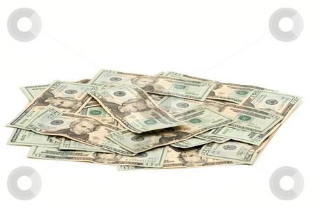 Pile of Money stock photo, Pile of Twenty Dollar Bills Isolated on a White Background by Andy Dean