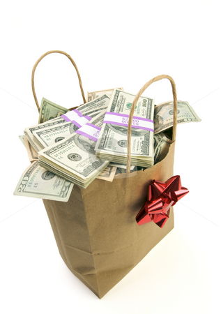 Bag of Money stock photo, Bag of Money Isolated on a White Background. by Andy Dean