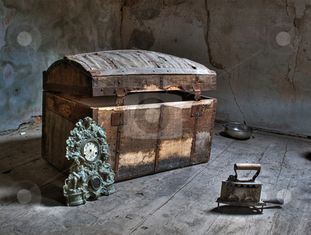 In the attic stock photo, HDR image of an ancient attic in some abandoned house. by Sinisa Botas