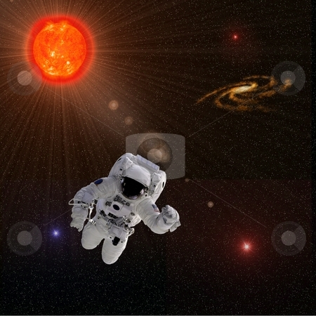 Astronaut Sun Stars stock photo, Flying astronaut on a background with Sun Stars  Some components of this image are provided courtesy of NASA, and have been found at nasaimages.org by Henrik Lehnerer