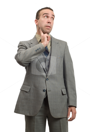 Carotid Pulse stock photo, A young businessman checking his heart rate using the carotid pulse, isolated against a white background by Richard Nelson