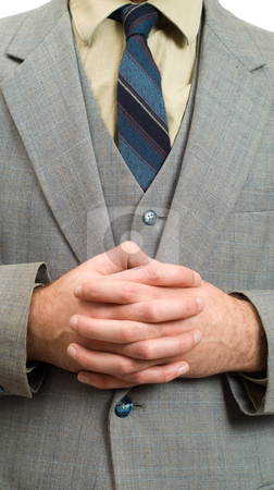 Business Hands stock photo, Closeup view of a businessmans with clasped hands, patiently waiting for something by Richard Nelson