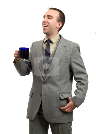 Coffee Break stock photo, Businessman smiling and holding a cup of coffee, isolated against a white background by Richard Nelson