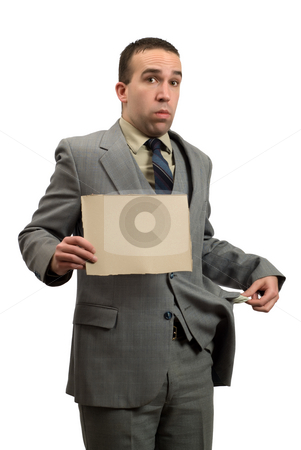 Bankrupt Businessman stock photo, A bankrupt businessman holding a blank cardboard sign, isolated against a white background by Richard Nelson