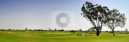 Golf Fairway stock photo, Panoramic shot of a golf fairway near Ventura by Henrik Lehnerer
