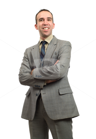 Smiling Businessman stock photo, Half body view of a businessman smiling with his arms crossed, isolated against a white background by Richard Nelson