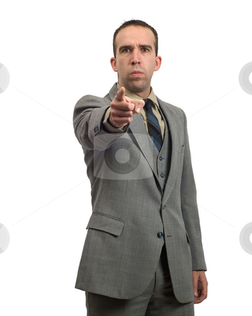 Mean Businessman stock photo, A mean businessman is pointing towards the front by Richard Nelson