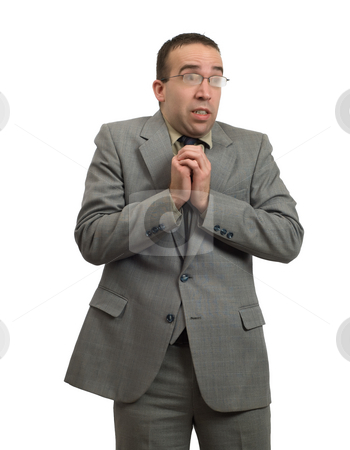 Cold Man In Suit stock photo, A cold man shivering in a suit, isolated against a white background by Richard Nelson