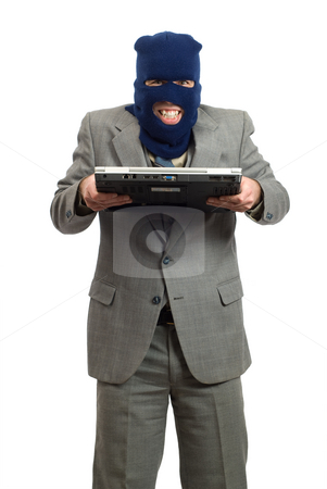 Identity Theft stock photo, Thief stealing someones identity from a laptop computer, isolated against a white background by Richard Nelson