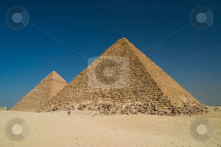 Pyramids in Giza stock photo, Great Pyramid of Khufu on right, and the Pyramid of Khafre on left, Giza Egypt. by Ziga Camernik