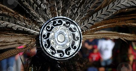 Feather Headdress stock photo, Feather headdress of an Inca woman at a festival by Henrik Lehnerer