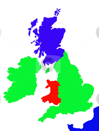 Outline map of United Kingdom and France stock photo, Colorful map showing coastline of United Kingdom of Great Britain, Ireland and northen France. by Martin Crowdy